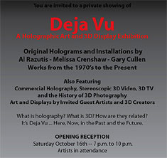Deja Vu invitation detail - link to Holographic art and archives